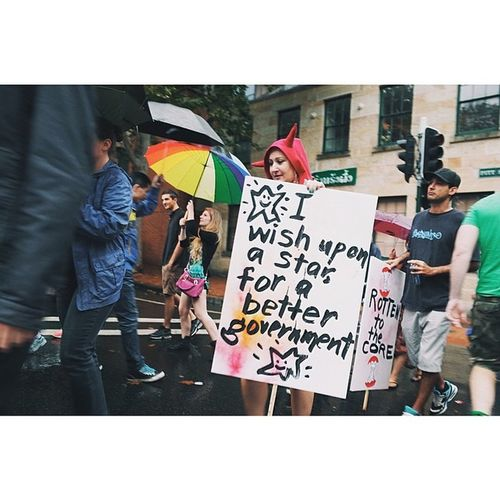 Wishing upon a star for a better government than Abbott's. MarchinMarch  Sydney Protest Streetphotography vscocam ricohgr