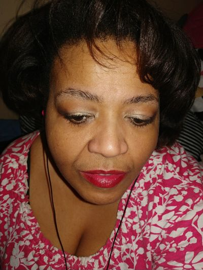 Close-up of woman with make-up