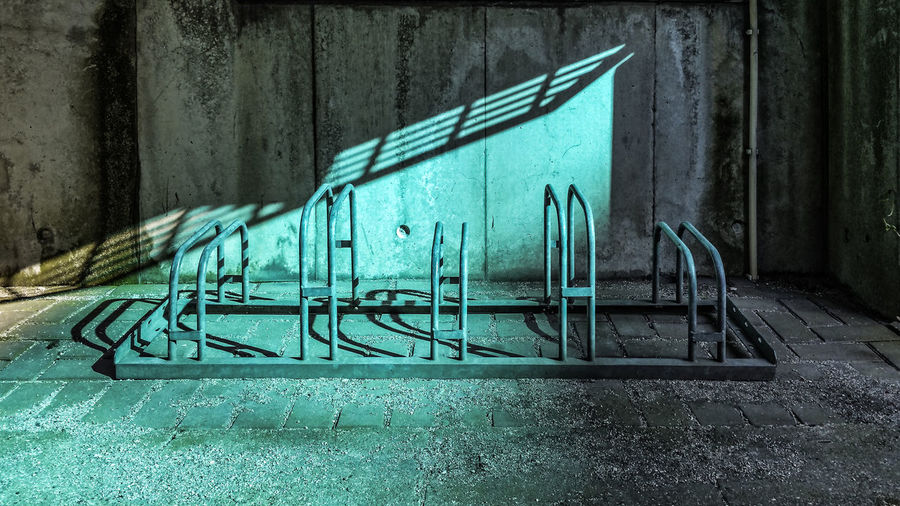 RadLos Bike Racks Blue Built Structure Day Empty Green Color No People Outdoors Reflection Shadows Sunlight