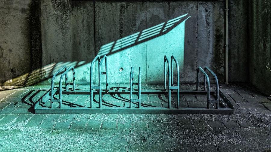 Bicycle racks against wall