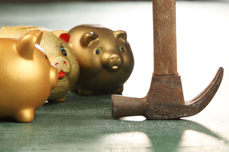 Close-up of piggybank on table