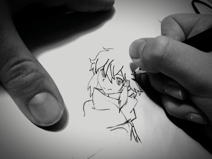 Paper Human Body Part Human Hand Close-up People One Person Indoors  Pencil Drawing Anime Drawing Anime Art