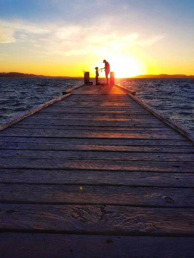 Fishing Father & Son Australian Landscape Peaceful Holiday Travel Australia Sea Sunset Men Beach Togetherness Sitting Women Water Summer Sunlight Pier Calm Jetty Dock Dramatic Sky Horizon Over Water This Is Aging EyeEmNewHere