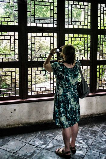 Window Standing One Person Rear View Day One Woman Only Indoors  Women Full Length Only Women Real People Photographing Photography Themes Adult People Chinese Culture And History Chinese Garden Traditional Mix Yourself A Good Time