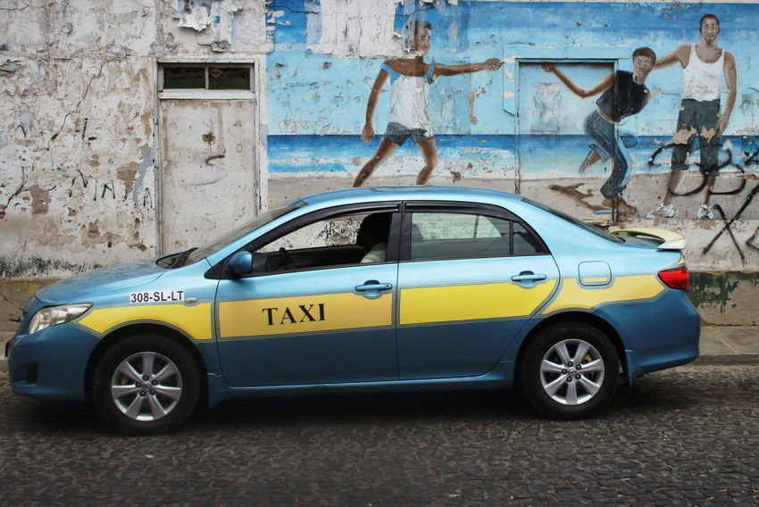 Architecture Blue And Yellow Capo Verde Car Day Espargos Murales Outdoors Sal Island Summer 2015 Taxi Text Transportation