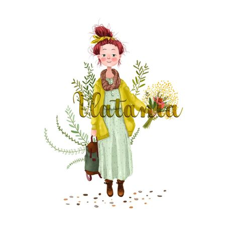 Spring girl Character Draw Girl Illustration Spring Girl Illustration Cartoon Illustration Cartoon Spring Limb Human Arm Human Body Part People Adult Full Length One Person