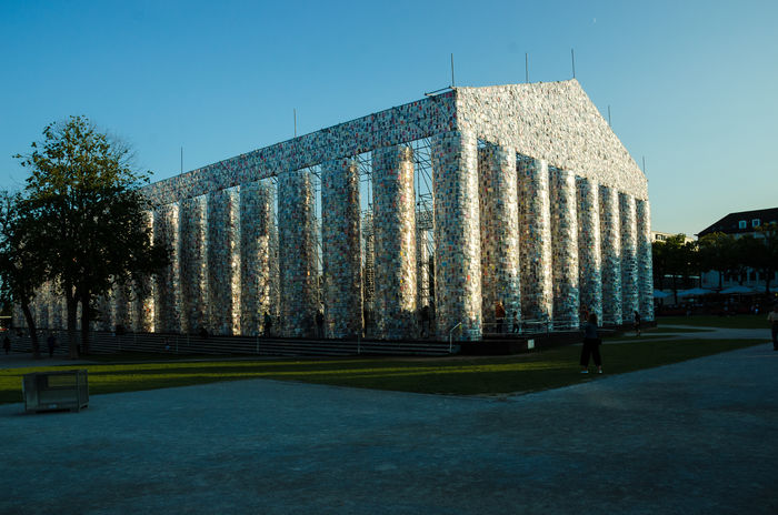 Documenta 14 Evening Light Marta Minujín Architecture Art Object Building Exterior Built Structure City Clear Sky Day Grass Nature No People Outdoors Parthenon Of Books Sky Tree