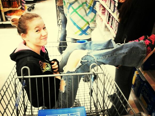 in walmart pushing my best friend lol memories.