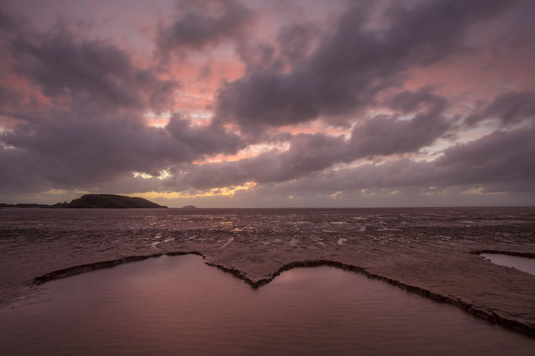 Muddy Sunset Weston-super-mare Beach Beauty In Nature Cloud - Sky Horizon Horizon Over Water Idyllic Land Mud Nature No People Overcast Scenics - Nature Sea Sky Storm Sunset Tranquil Scene Tranquility Water