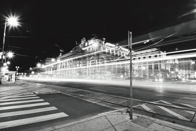 Vienna Opera House, long exposure with passing Tram Vienna Opera House Vienna Austria Transportation Architecture Night City Life Motion Street Blurred Motion City Street Monochrome Photography Capturing Movement Street Photography Famous Place Light Trail Welcome To Black Mobility In Mega Cities
