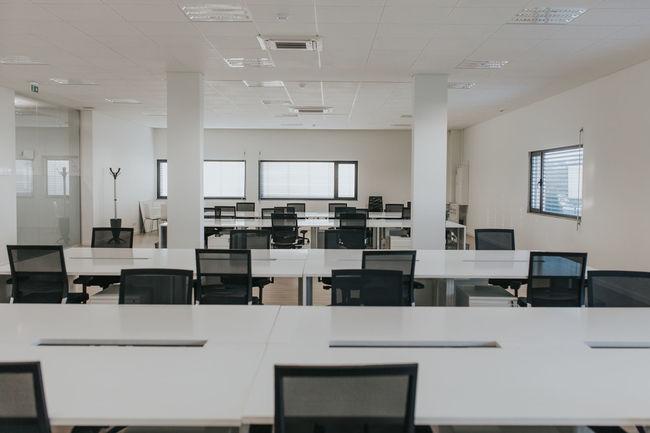 Office Architecture Blackboard  Chair Classroom Day Desk Education Empty Indoors  Learning Lecture Hall Modern No People Office View Office Building Projection Equipment Seat Table University White Color