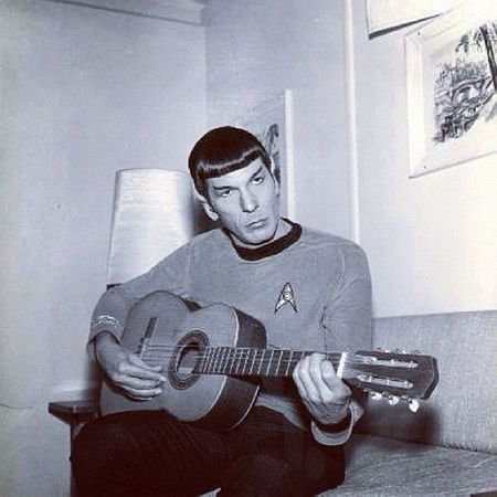 Random. Spock Startrek Trekkie Scifi guitar random instagood instagramhub sandyjo b&w