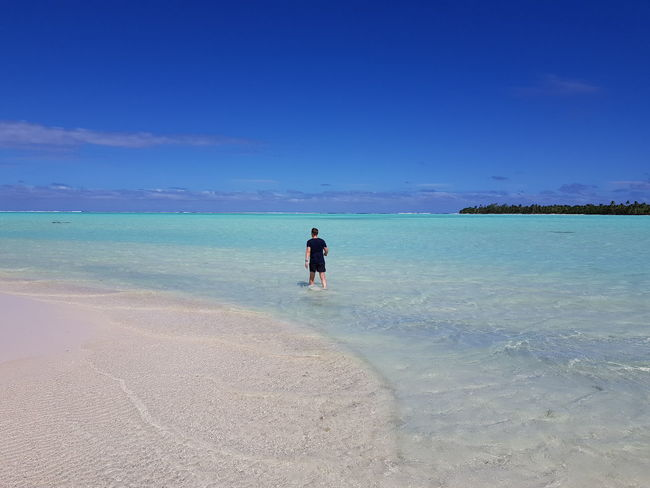 Beach Sea Sand Water Blue Sky One Person One Man Only Horizon Over Water Tranquility Clear Sky Travel Destinations Tahiti French Polynesia Ilsland Beauty In Nature Maupiti Landscape Mer Done That. Lost In The Landscape