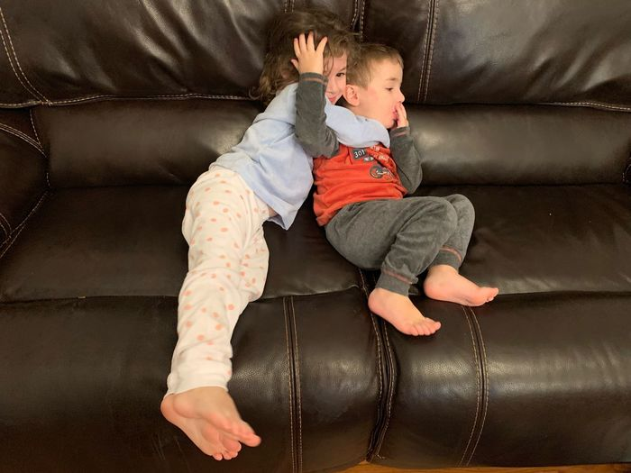 Siblings Sibling Sister Brother Sofa EyeEm Selects Childhood Child Full Length One Person Indoors  Baby Innocence Men Toddler  Offspring Real People Boys Males  Young Casual Clothing Clothing Furniture Babyhood