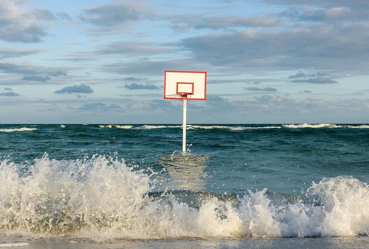 Basketball Hoop In Sea Against Sky