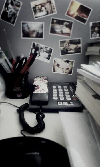My Working Desk At Work Cards Telephone