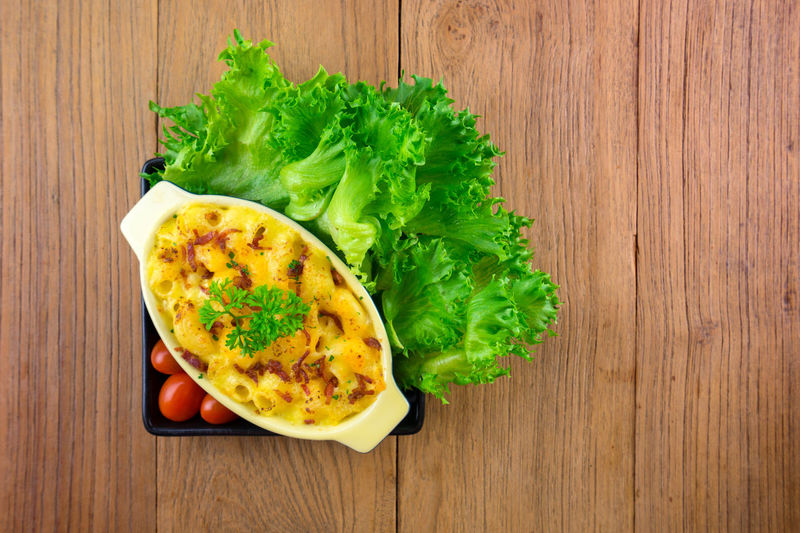 macaroni and cheese homemade food Close-up Day Directly Above Egg Food Food And Drink Freshness Green Color Healthy Eating Indoors  Lettuce No People Ready-to-eat Snack Table Vegetable