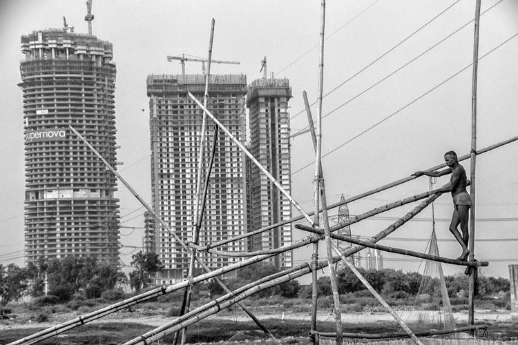Man against built structure