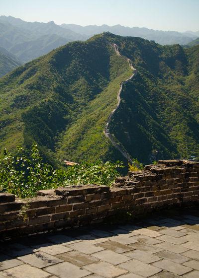 High angle view of wall on mountain