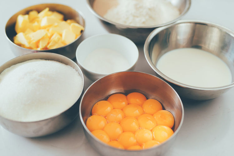 Bakery chef. Ingredients for baking cake Bowl Close-up Container Egg Egg Yolk Food Food And Drink Freshness Healthy Eating High Angle View Household Equipment Indoors  Ingredient Kitchen Utensil No People Preparation  Preparing Food Raw Food Still Life Table Wellbeing