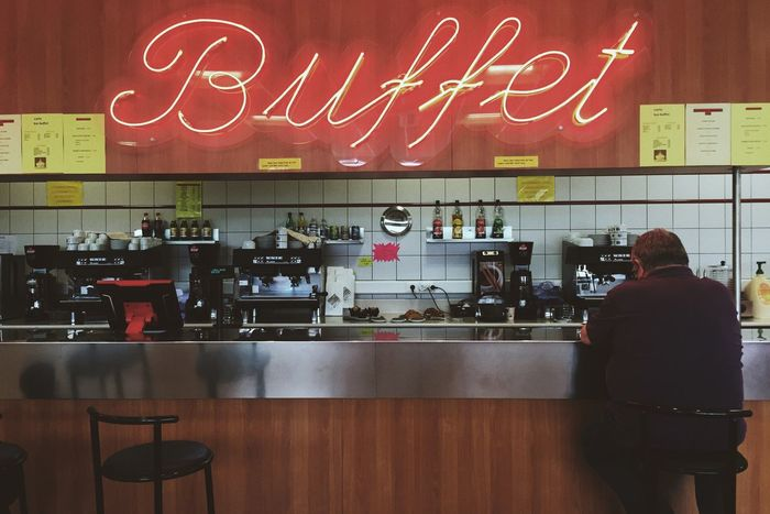 B Bar Buffet Lonely Loneliness Neon Light Food Late Night Snack
