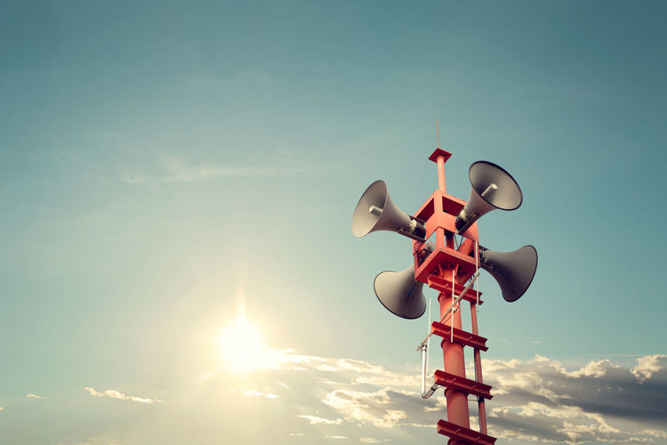 Horn speaker for public relations sign symbol, vintage color - sun with blue sky Sign Sound Broadcasting Cloud - Sky Communication Day Horn Loudspeakers Low Angle View Megaphone No People Outdoors Public Relations Relations Retro Styled Sky Speaker Sun Sunlight Technology Vintage Voice