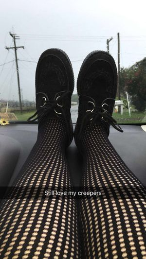 One of my favorite pairs of shoes. Creepers Shoes Tights Fishnets Car Rides Random Photos