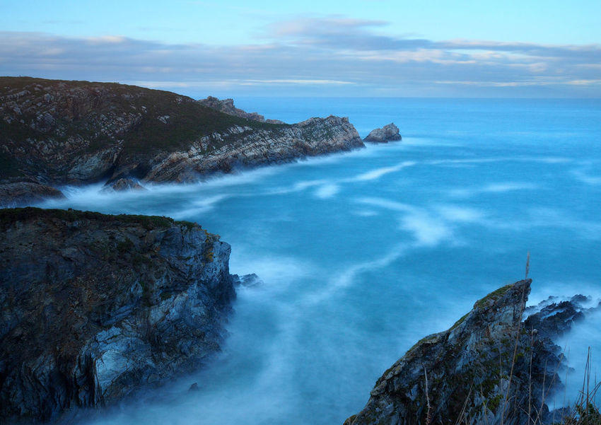View of the Cantabrian coast in Asturias, Spain Asturias Cantabrian Sea Porcia SPAIN View Blue Cabo Blanco Cliff Coast Landscape Long Exposure Mountain Nature No People Outdoors Rock Rock - Object Rock Formation Rocky Coastline Scenics Sea Sea View Seaside Water Waves