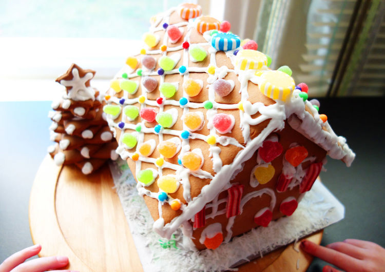 Close-up of decorated gingerbread house during christmas