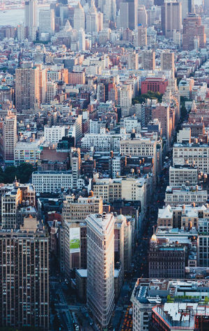 Flatiron Building Aerial View Architecture Building Exterior City City Life Cityscape Crowded Downtown High Angle View Skyscraper Tower Travel Destinations Urban Skyline