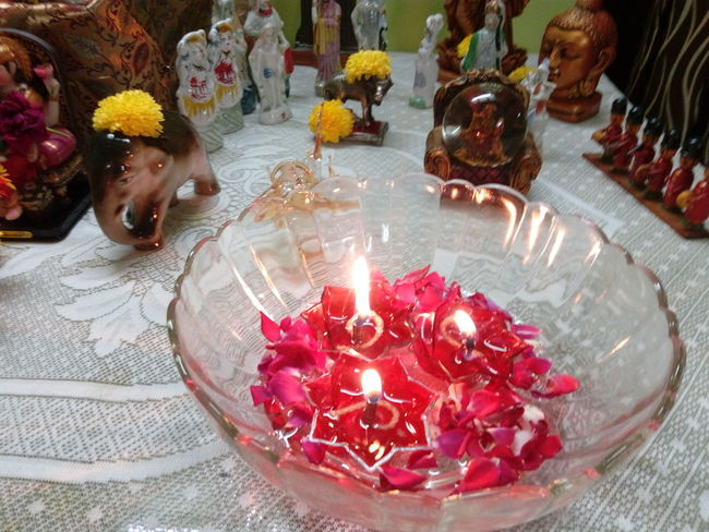 Candle Celebration Flame Burning Indoors  High Angle View Table Tradition Flower No People Diya - Oil Lamp Day Close-up