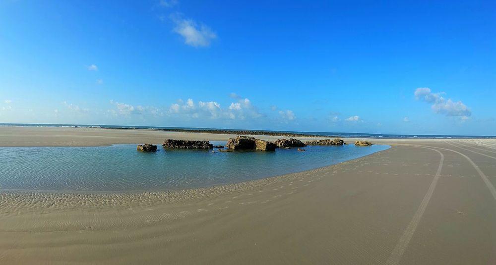 City of Salinópolis, Atalaia Beach, State of Pará, Amazon, Brazil. Sand Beach Sea Scenics Sky Nature Blue