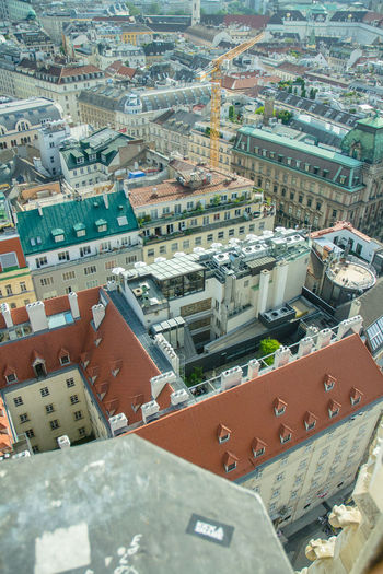 High angle view of buildings in town