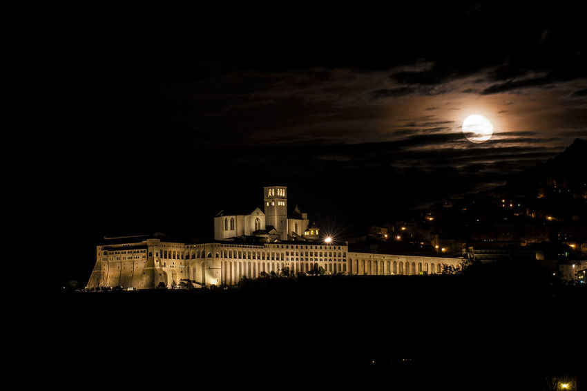 Architecture Travel Destinations City Illuminated Night Cloud - Sky Medieval Cityscape Assisi Basilica Di San Francesco Long Exposure Moonrise Giant Moon