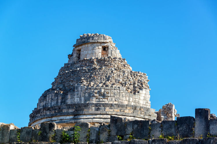 Low Angle View Of El Caracol Against Clear Sky