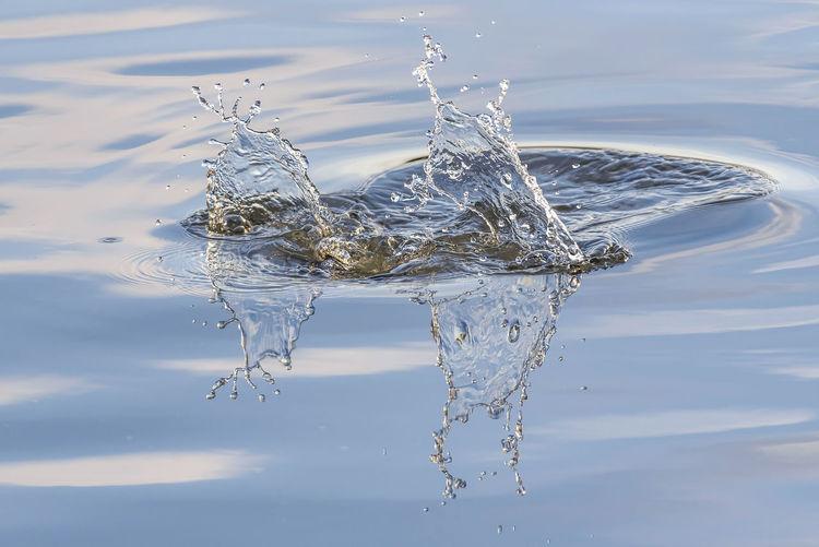 Close-up of splashing water in lake