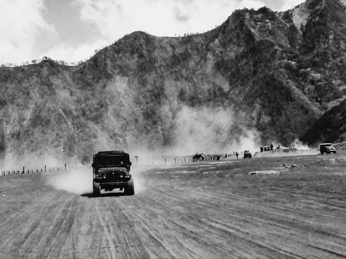 4x4 adventures at bromo mountain, east Java Indonesia Mountain Outdoors Land Vehicle Nature Landscape Blackandwhite First Eyeem Photo