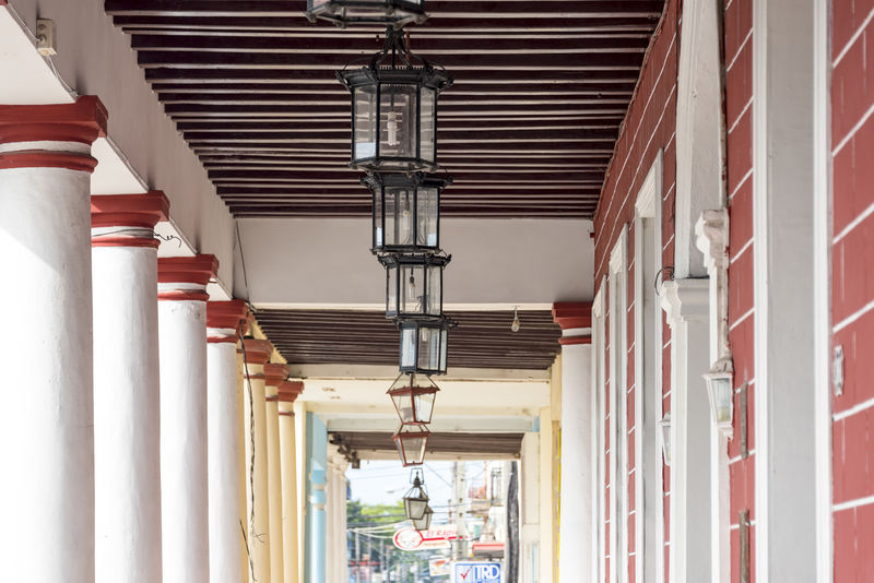 Cuban colonial architecture. Columns and roof in 'La Periquera' or Consistorial house in Holguin city Architecture Day Indoors  Low Angle View No People