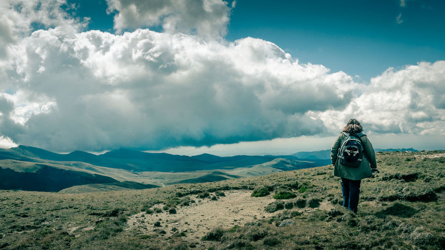 Cloud - Sky Human Back Landscape Mountain Mountain Range Nature One Person Outdoors People Rear View Sky Travel