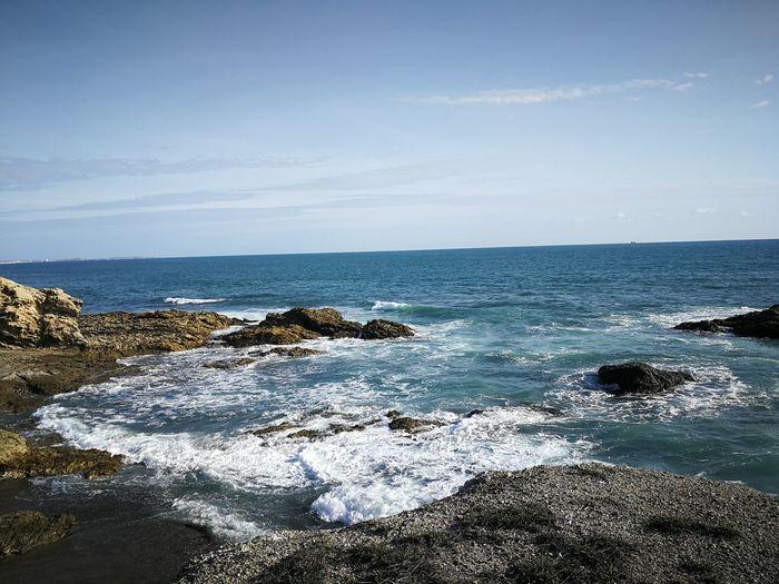 EyeEmNewHere Water Sea Wave Beach Sand Rock - Object Sky Horizon Over Water