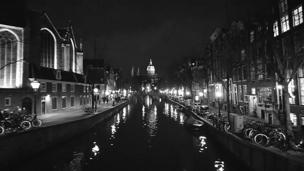 Architecture Built Structure Canal City Illuminated Night Reflection Water