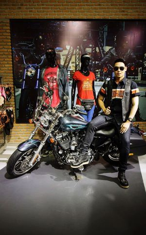 Handsome Man Motor Show Motorcycles Haley Davidson Portrait Model