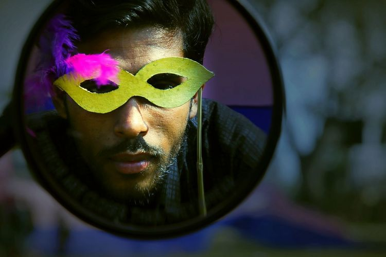 Perspective Gay Pride EyeEm Selects The Street Photographer - 2018 EyeEm Awards The Photojournalist - 2018 EyeEm Awards 10 Portrait Water Reflection Men Sunglasses Close-up Posing Thoughtful Eye Mask Carnival - Celebration Event Costume Traveling Carnival The Modern Professional