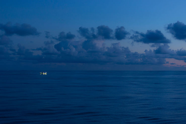 Lonely Ship Sea Water Sky Beauty In Nature Horizon Over Water Horizon Nautical Vessel Tranquility Nature Blue Ship