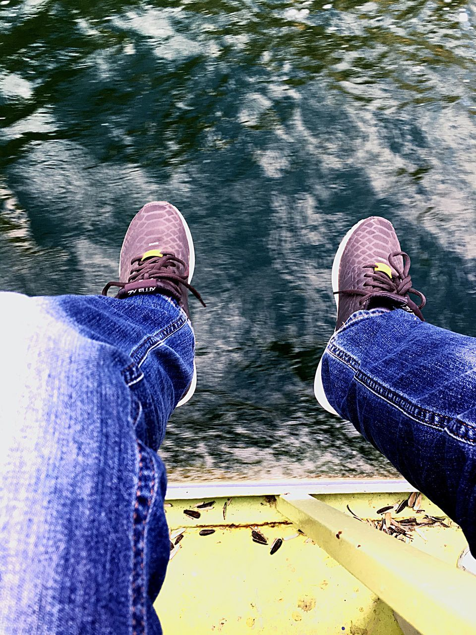 jeans, low section, human leg, shoe, two people, real people, human body part, day, men, high angle view, casual clothing, water, leisure activity, women, outdoors, standing, lifestyles, togetherness, close-up, adult, people, only men, adults only
