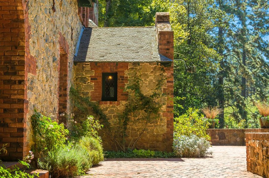 """""""Empire Cottage Side Court"""" - Here is a side view of the cottage. Empire Cottage Empire Mine California Architecture Garden"""