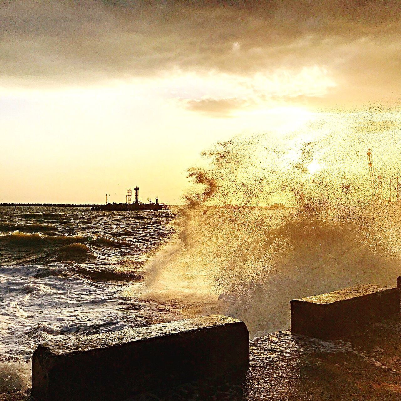 water, sky, sea, motion, nature, power in nature, wave, power, splashing, breaking, hitting, beauty in nature, cloud - sky, sunset, no people, crash, force, outdoors, scenics - nature, pollution