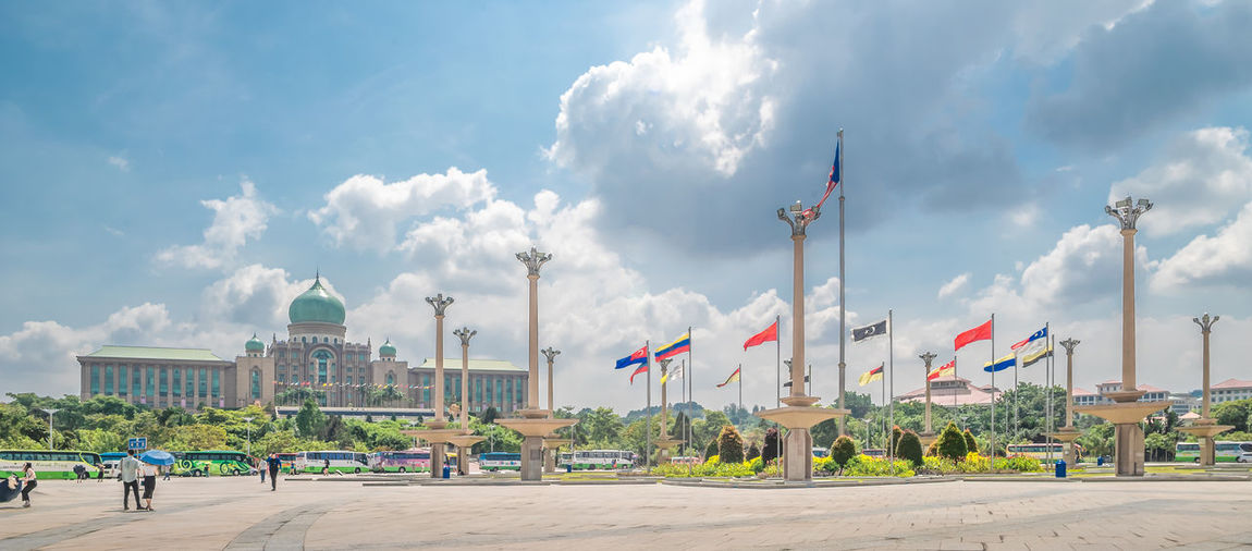 Putrajaya Malaysia Administration Architecture Cloudy Holiday Putrajaya, Malaysia Square Tourist Attraction  Architecture Blue Sky Building Exterior Built Structure City Cloud - Sky Day Flag Government Incidental People Nature Noon Patriotism People Sky Tourism