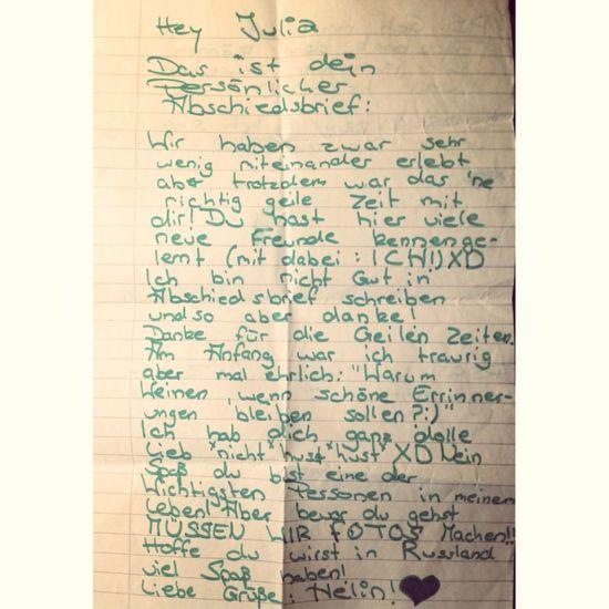 Hab mein Abschiedsbrief von Helin gefunden. Ich vermisse dich! Miss You Errinerungen