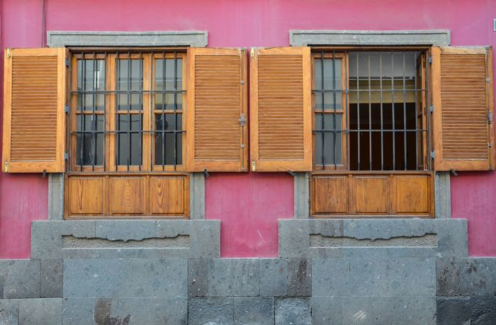 Windowing Windows Building Blinds Shutters Wooden Blinds Architecture Building Exterior Built Structure Purple Red Façade Facade Detail Outdoors Pink Color Day No People Close-up Security Bars The Graphic City